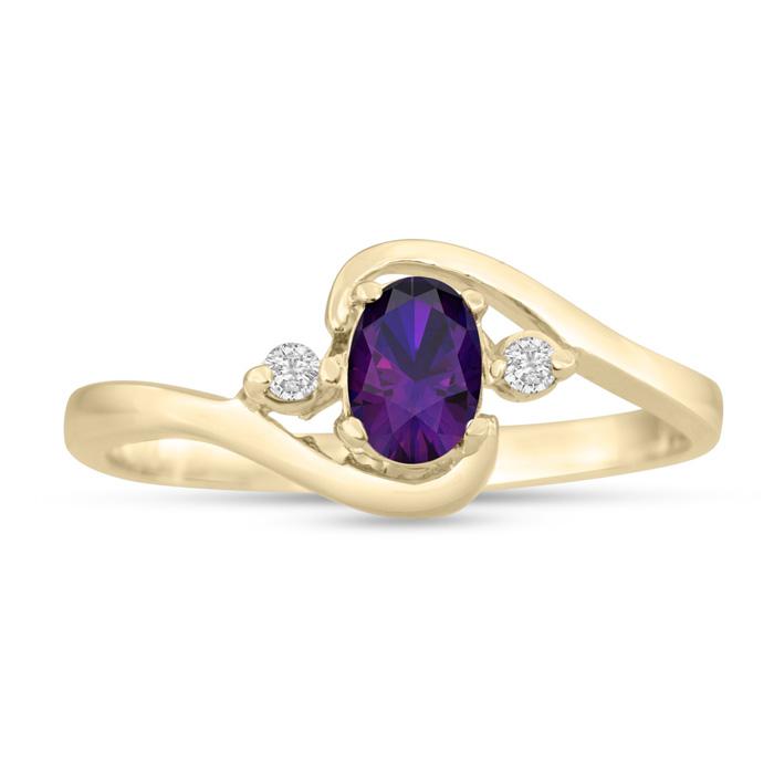 1/2 Carat Amethyst & Diamond Ring in 14K Yellow Gold (1.6 g), G/H
