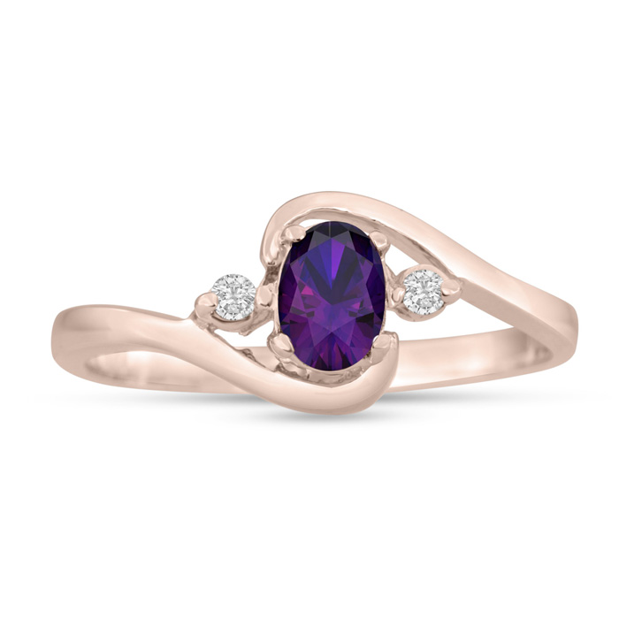 1/2 Carat Amethyst & Diamond Ring in 14K Rose Gold (1.6 g), G/H b