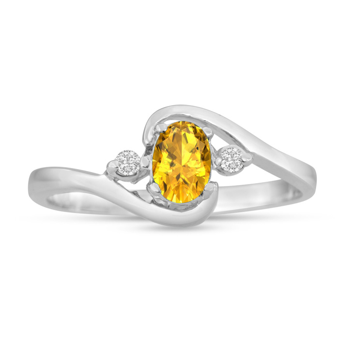 1/2 Carat Citrine & Diamond Ring in 14K White Gold (1.6 g), G/H b