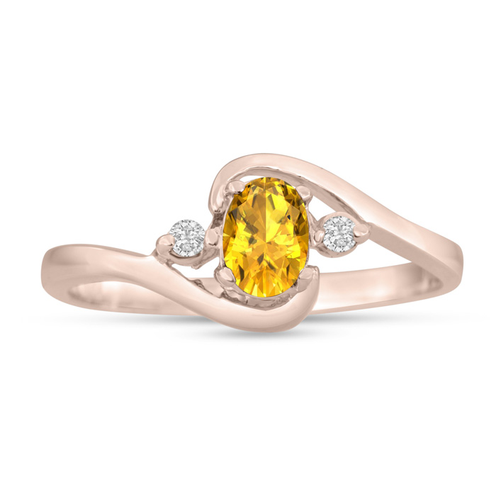 1/2 Carat Citrine & Diamond Ring in 14K Rose Gold (1.6 g), G/H by