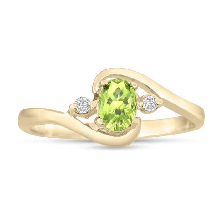 1/2 Carat Peridot & Diamond Ring in 14K Yellow Gold (1.6 g), G/H