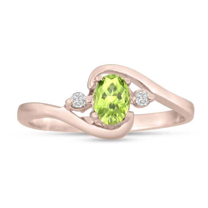 1/2 Carat Peridot & Diamond Ring in 14K Rose Gold (1.6 g), G/H by