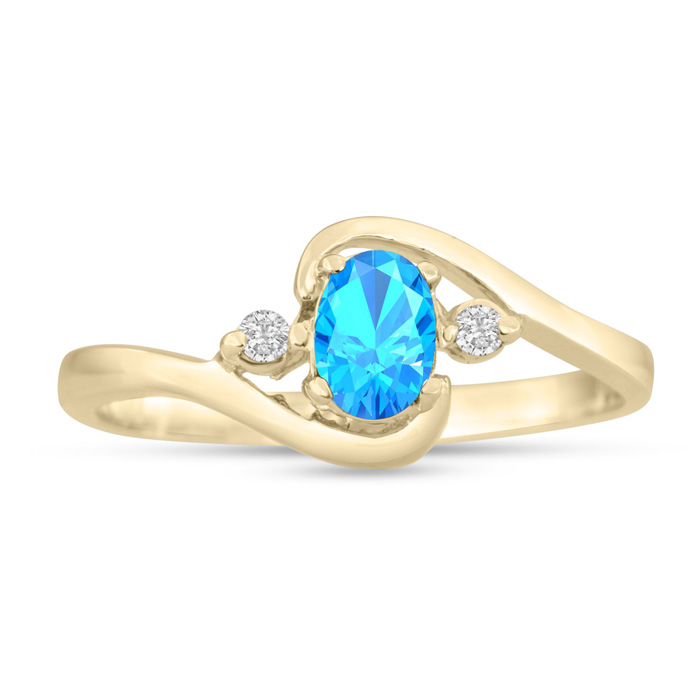 Image of 1/2ct Blue Topaz and Diamond Ring In 14K Yellow Gold