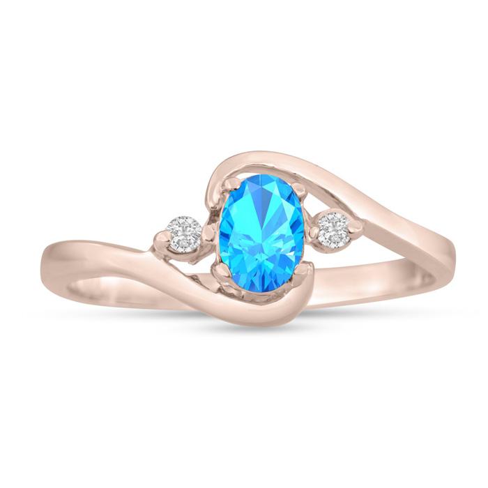 1/2 Carat Blue Topaz & Diamond Ring in 14K Rose Gold (1.6 g), G/H