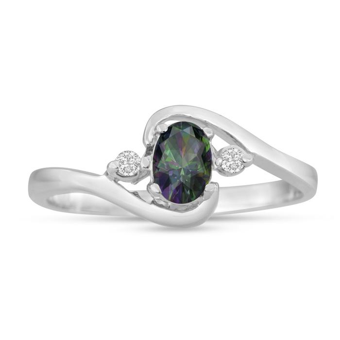 1/2 Carat Mystic Topaz & Diamond Ring in 14K White Gold (1.6 g),