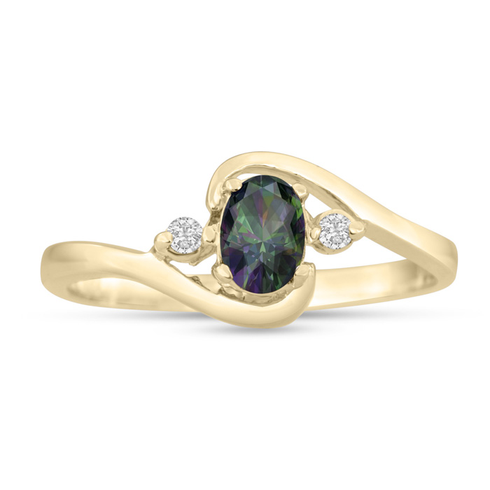 1/2 Carat Mystic Topaz & Diamond Ring in 14K Yellow Gold (1.6 g), G/H by SuperJeweler