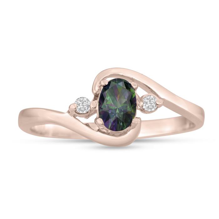 1/2 Carat Mystic Topaz & Diamond Ring in 14K Rose Gold (1.6 g), G