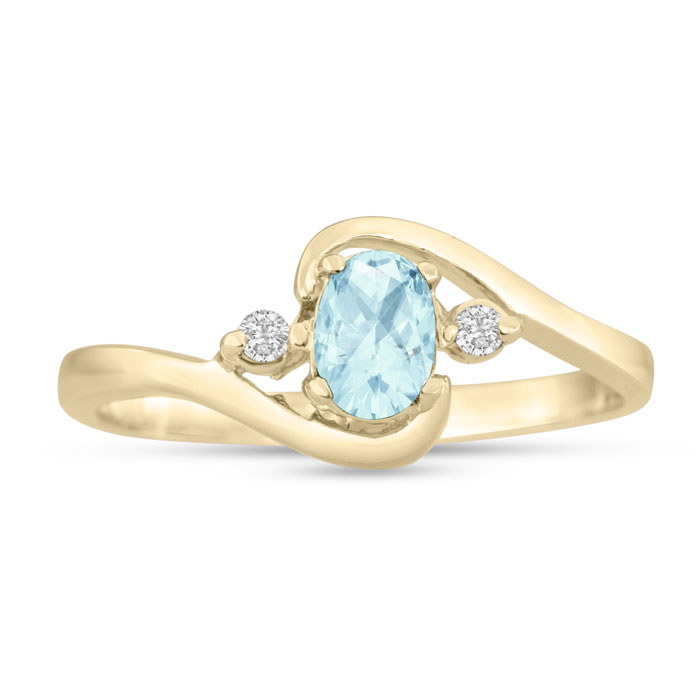 1/2 Carat Aquamarine & Diamond Ring in 14K Yellow Gold (1.6 g), G