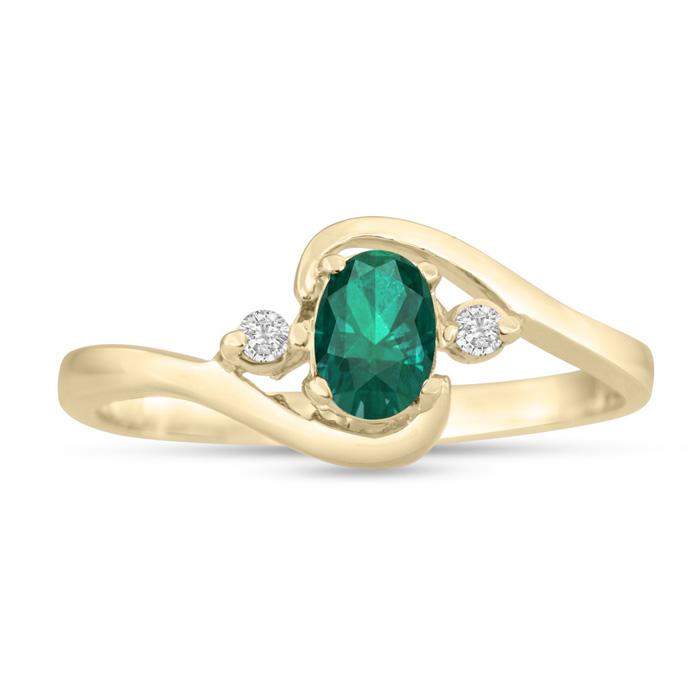 1/2 Carat Emerald Cut & Diamond Ring in 14K Yellow Gold (1.6 g),