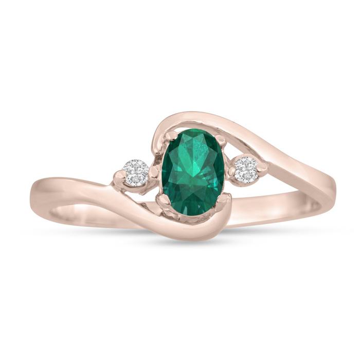 1/2 Carat Emerald Cut & Diamond Ring in 14K Rose Gold (1.6 g), G/H by SuperJeweler