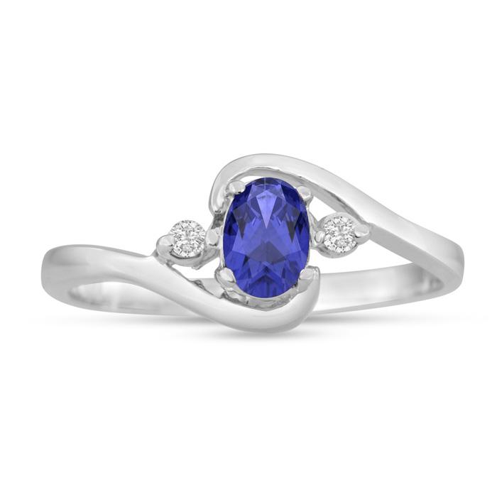 1/2 Carat Tanzanite & Diamond Ring in 14K White Gold (1.6 g), G/H