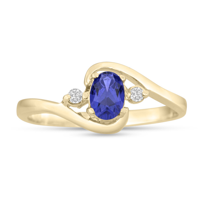 1/2 Carat Tanzanite & Diamond Ring in 14K Yellow Gold (1.6 g), G/