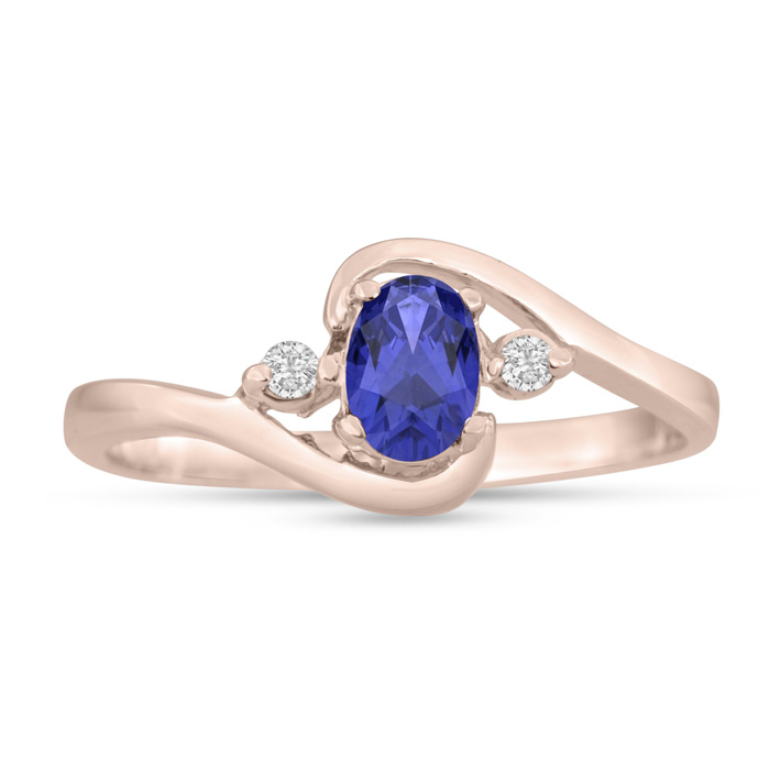 1/2 Carat Tanzanite & Diamond Ring in 14K Rose Gold (1.6 g), G/H