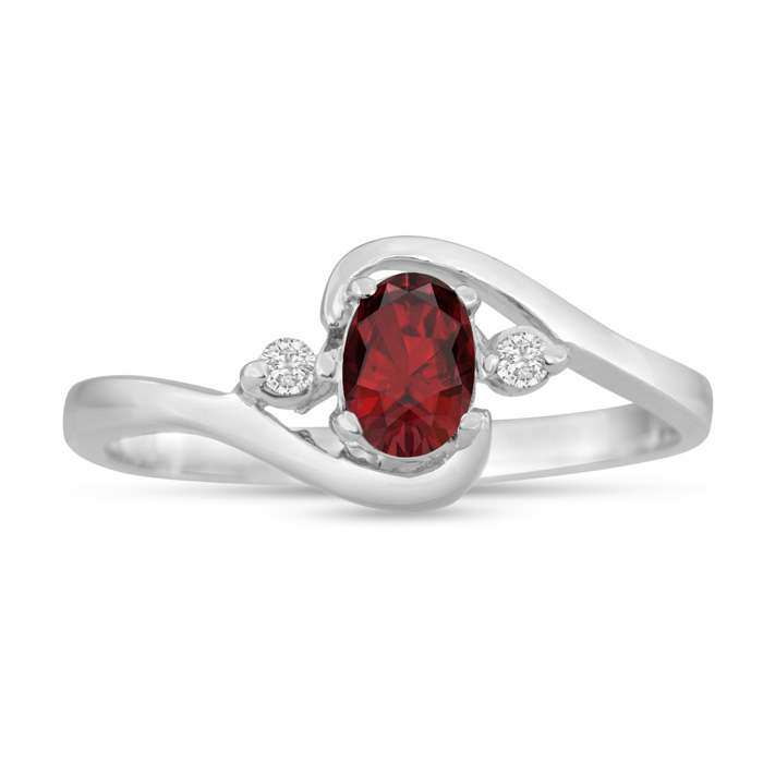 1/2 Carat Garnet & Diamond Ring in 14K Rose Gold (1.6 g), G/H by