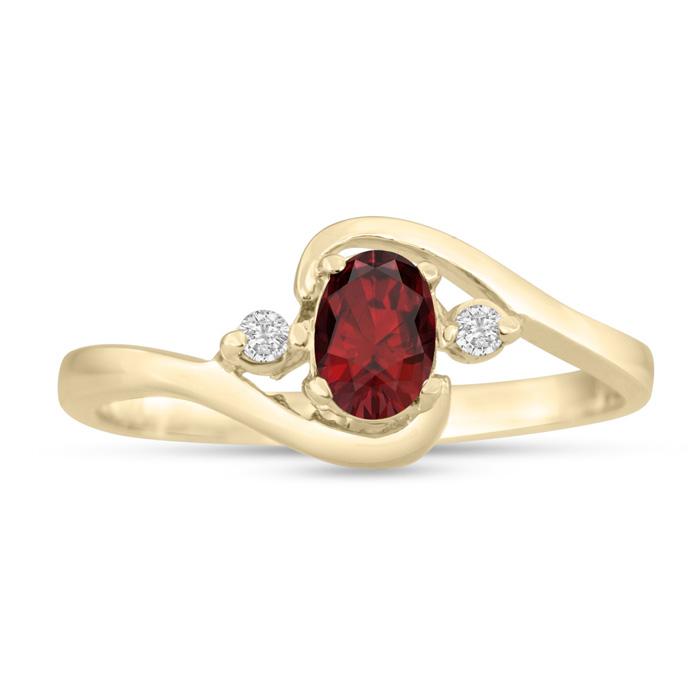 1/2 Carat Garnet & Diamond Ring in 14K Yellow Gold (1.6 g), G/H b