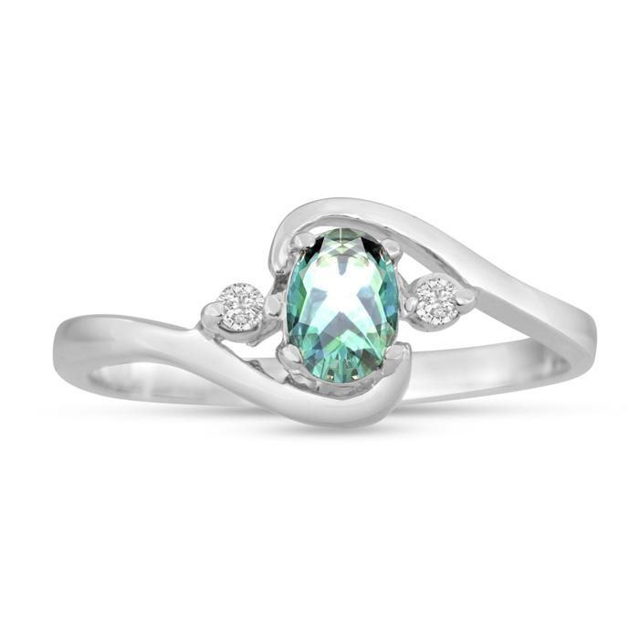 1/2 Carat Green Amethyst & Diamond Ring in 14K White Gold (1.6 g)