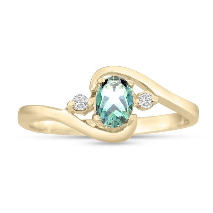 1/2 Carat Green Amethyst & Diamond Ring in 14K Yellow Gold (1.6 g