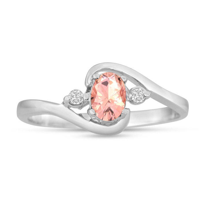 1/2 Carat Morganite & Diamond Ring in 14K White Gold (1.6 g), G/H