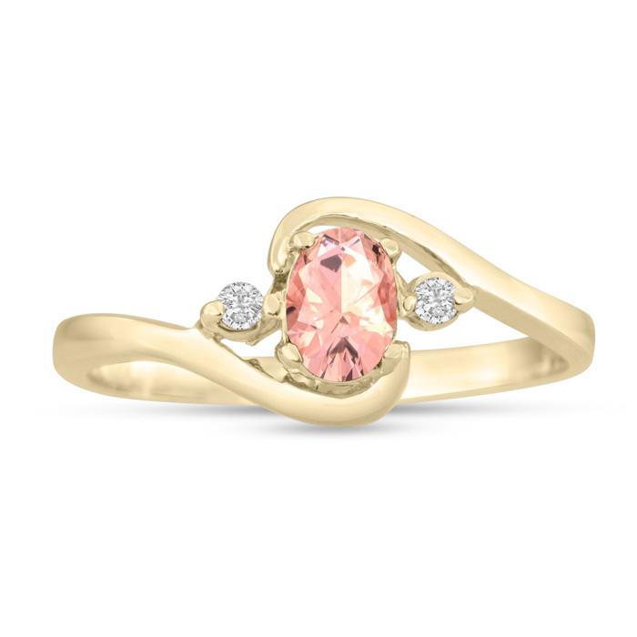 1/2 Carat Morganite & Diamond Ring in 14K Yellow Gold (1.6 g), G/