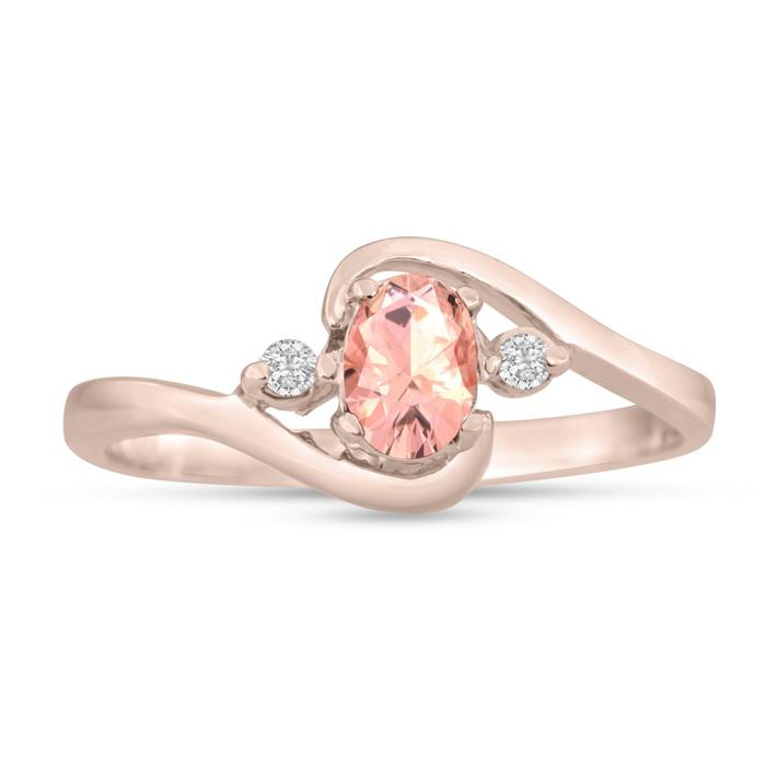 1/2 Carat Morganite & Diamond Ring in 14K Rose Gold (1.6 g), G/H