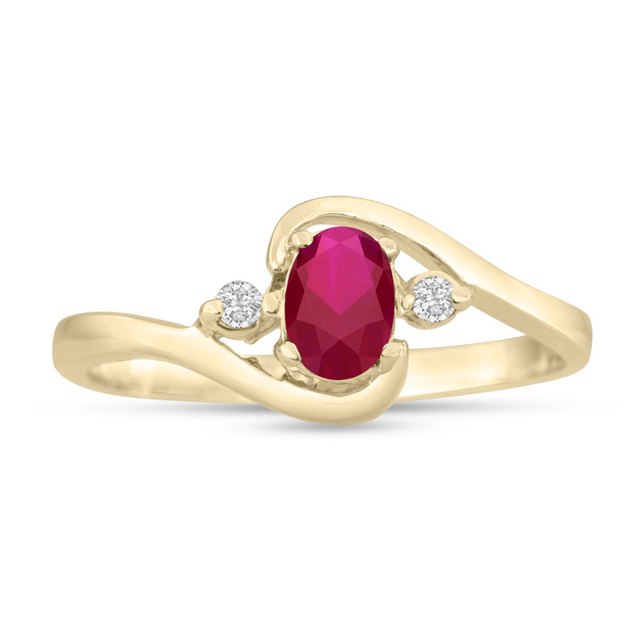 1/2 Carat Ruby & Diamond Ring in 14K Yellow Gold (1.6 g), G/H by SuperJeweler