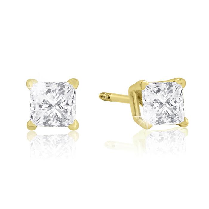 1/2 Carat Princess Cut Diamond Stud Earrings in 14k Yellow Gold, J/K, I1/I2 by SuperJeweler