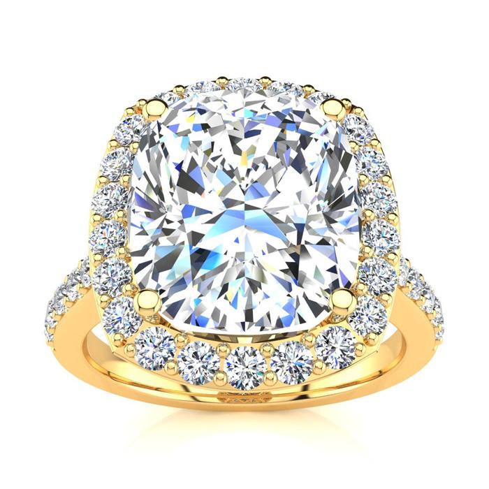 4 1/2 Carat Cushion Cut Halo Diamond Engagement Ring in 18K Yello