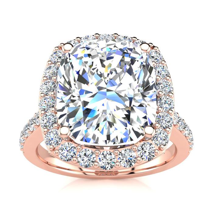 4 1/2 Carat Cushion Cut Halo Diamond Engagement Ring in 18K Rose