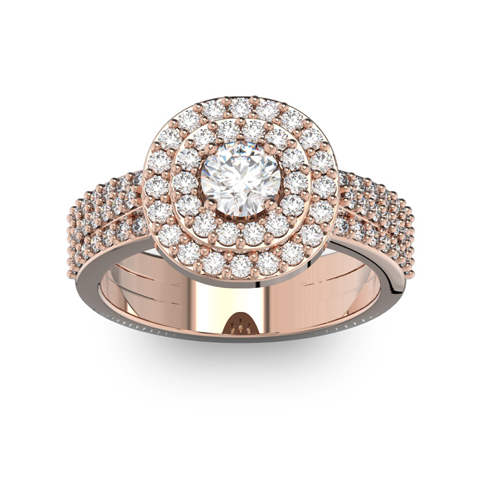 1.5 Carat Double Halo Diamond Engagement Ring in 14k Rose Gold (6