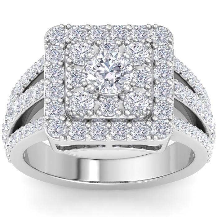 1 3/4 Carat Princess Cut Style Halo Diamond Engagement Ring in 14