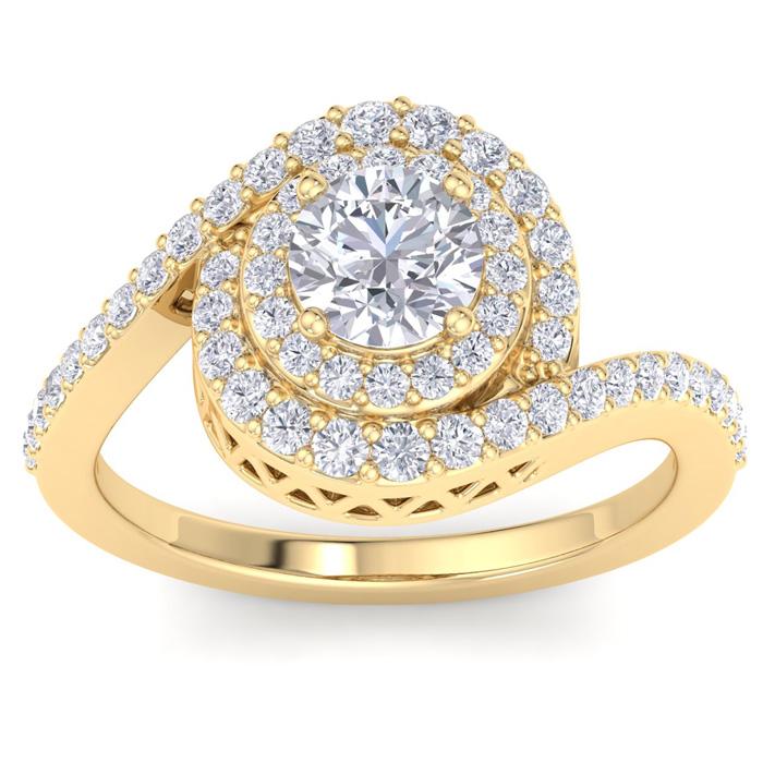 1.5 Carat Swirl Halo Diamond Engagement Ring in 14k Yellow Gold (