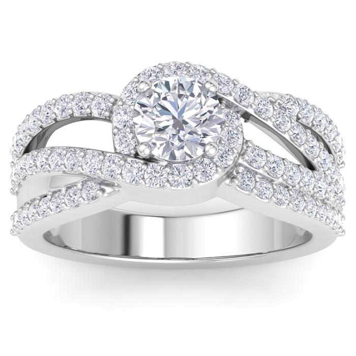 1.5 Carat Triple Band Halo Diamond Engagement Ring in 14k White G