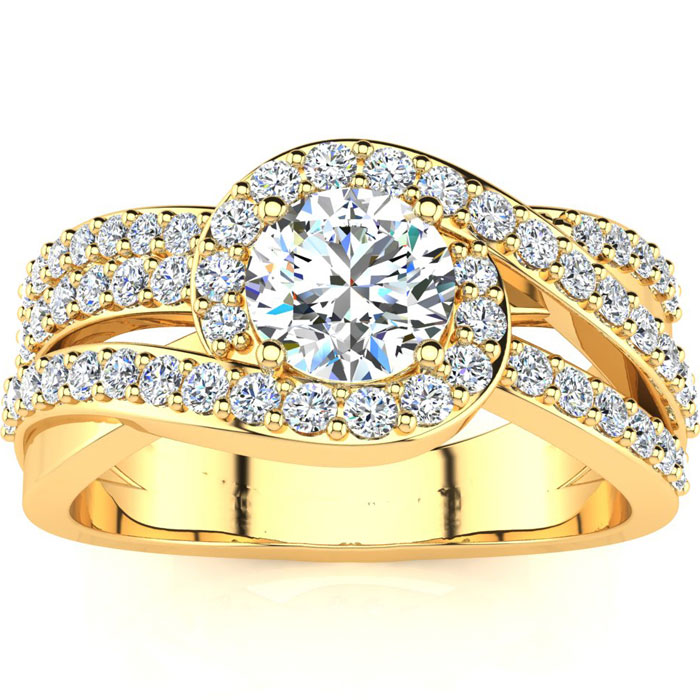 1.5 Carat Triple Band Halo Diamond Engagement Ring in 14k Yellow