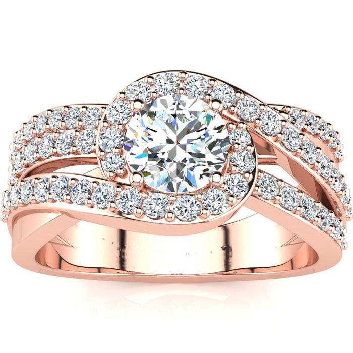 1.5 Carat Triple Band Halo Diamond Engagement Ring in 14k Rose Gold (6.5 g) (I-J, I1-I2 Clarity Enhanced) by SuperJeweler