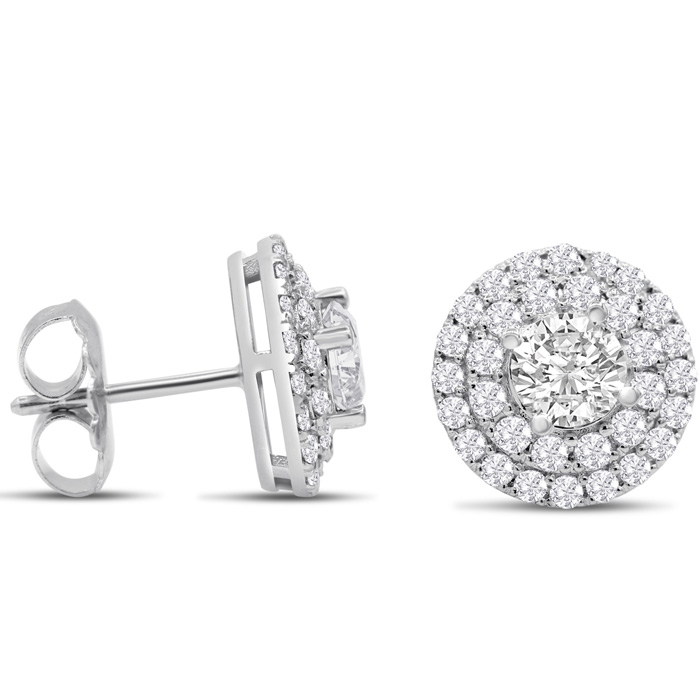 14K White Gold (4.2 g) 3 Carat Diamond Halo Stud Earrings, I/J by