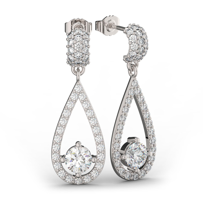 14K White Gold (5 g) 3 Carat Diamond Halo Teardrop Earrings, I/J