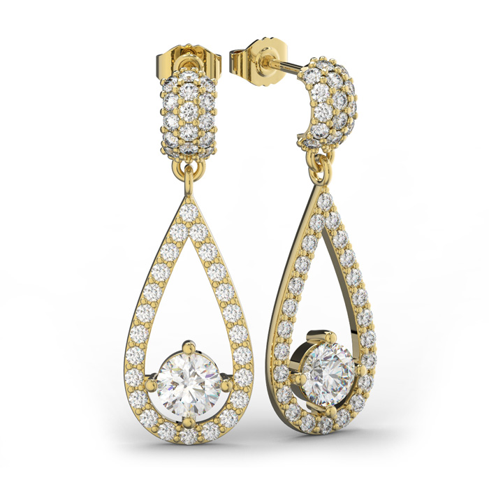 14K Yellow Gold (5 g) 3 Carat Diamond Halo Teardrop Earrings, I/J