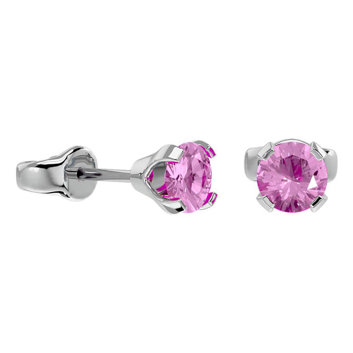 .50ct Pink Topaz Stud Earrings in 14k