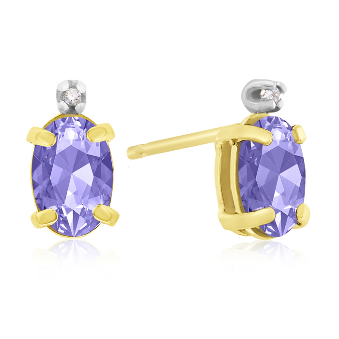 1.25 Carat Oval Tanzanite & Diamond Earrings in 14k Yellow Gold,