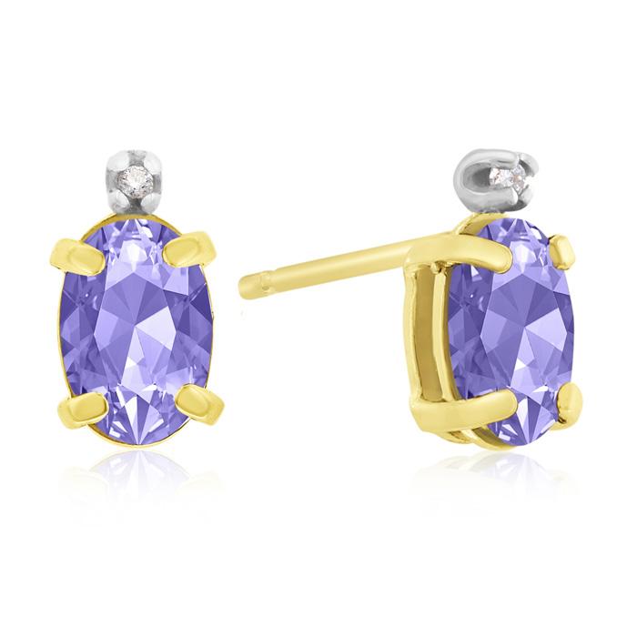 1.25 Carat Oval Tanzanite & Diamond Earrings in 14k Yellow Gold, J/K by SuperJeweler