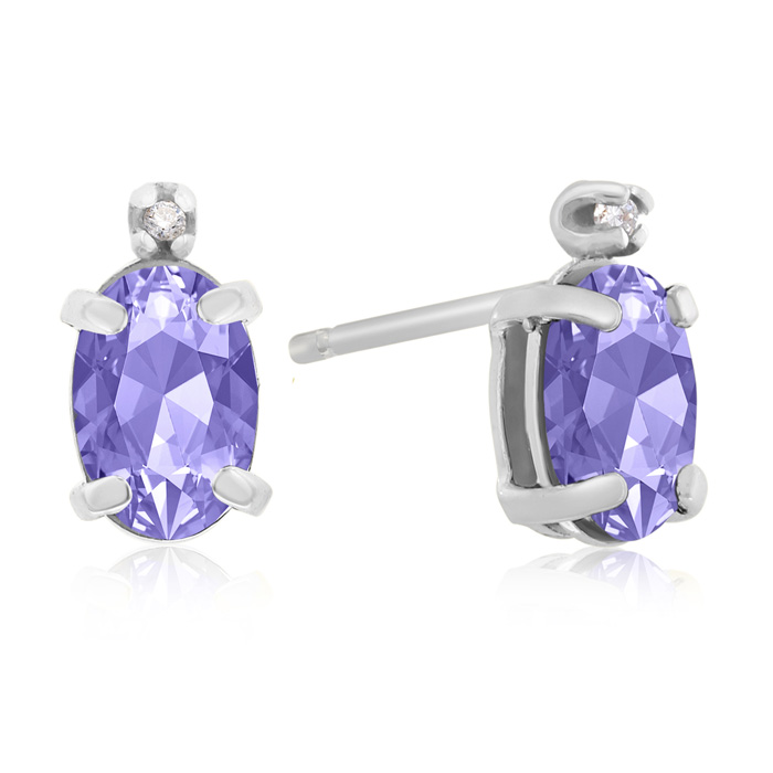 1.25 Carat Oval Tanzanite & Diamond Earrings in 14k White Gold, J
