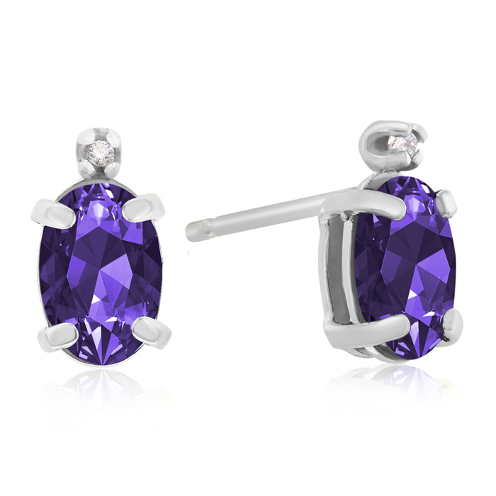 1.25 Carat Oval Amethyst & Diamond Earrings in 14k White Gold, J/