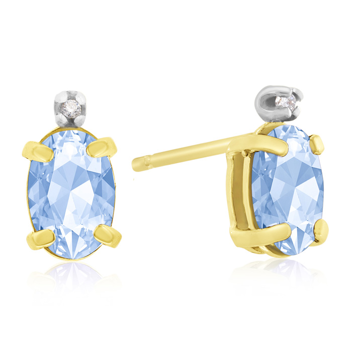 1.25 Carat Oval Blue Topaz & Diamond Earrings in 14k Yellow Gold,