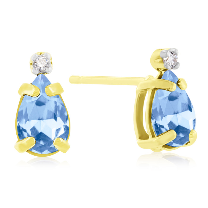 1 Carat Pear Shaped Blue Topaz & Diamond Earrings in 14k Yellow G