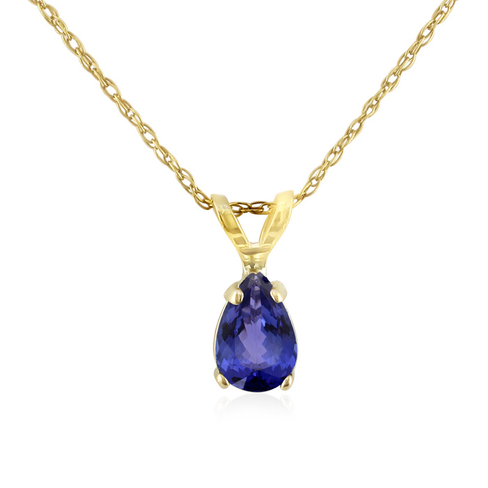 .60 Carat Pear Shaped Tanzanite Pendant Necklace in 14k Yellow Go