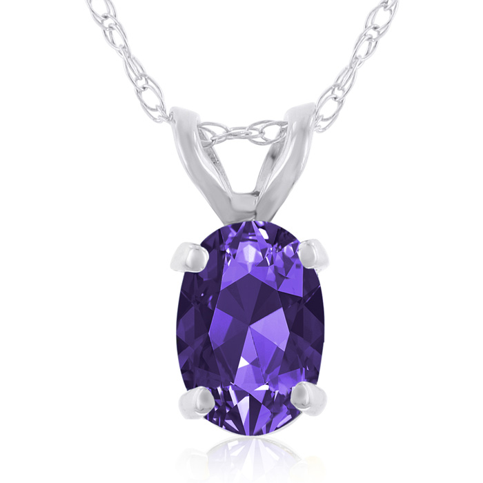 .40ct Oval Shaped Amethyst Pendant in 14k White Gold, 18 Inches