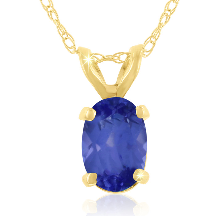 .40 Carat Oval Shaped Tanzanite Pendant Necklace in 14k Yellow Go
