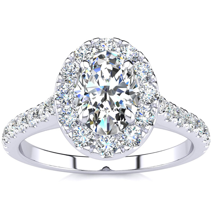 1.5 Carat Oval Shape Halo Diamond Engagement Ring in 14k White Go