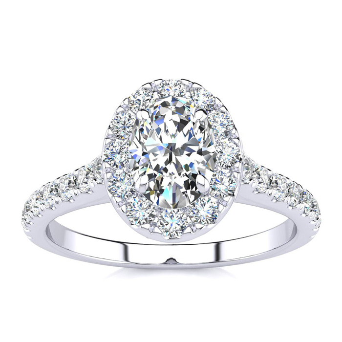 1 Carat Oval Shape Halo Diamond Engagement Ring in 14K White Gold