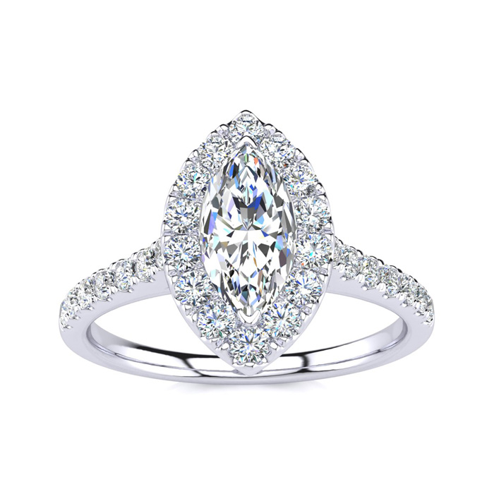 1 Carat Marquise Halo Diamond Engagement Ring in 14K White Gold (